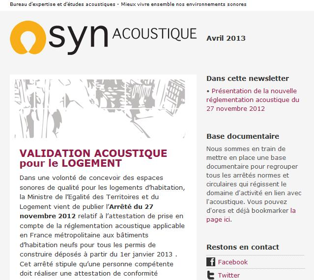 synacoustique Une mission de proximit pour le bureau dtude acoustique Synacoustique