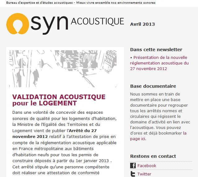 synacoustique Une mission de proximité pour le bureau détude acoustique Synacoustique